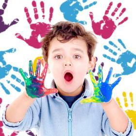 Vinyle décoratif mains de couleurs de peinture