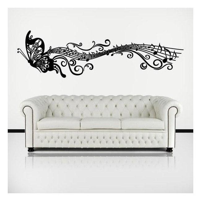 Musical papillon adhésif décoratifs en vinyle