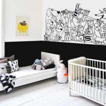 Adhésif vinyl décoratif famille d'animaux