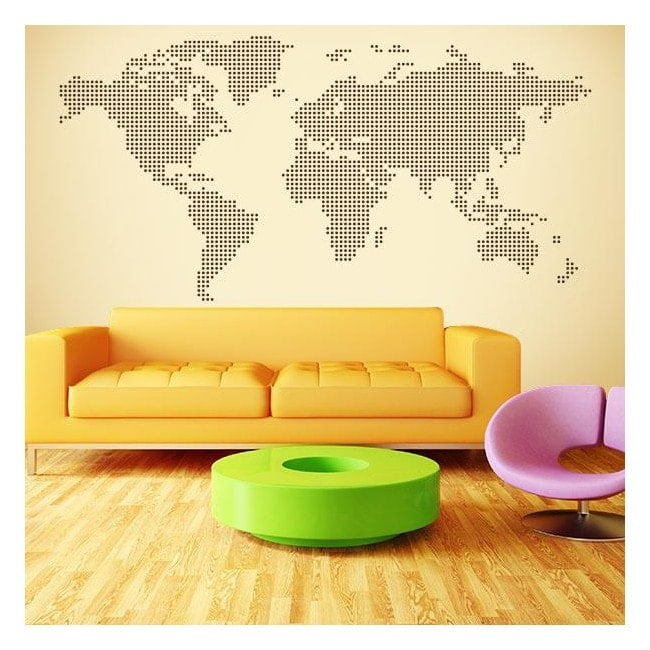Carte du monde vinyle décoratif pointe cercles
