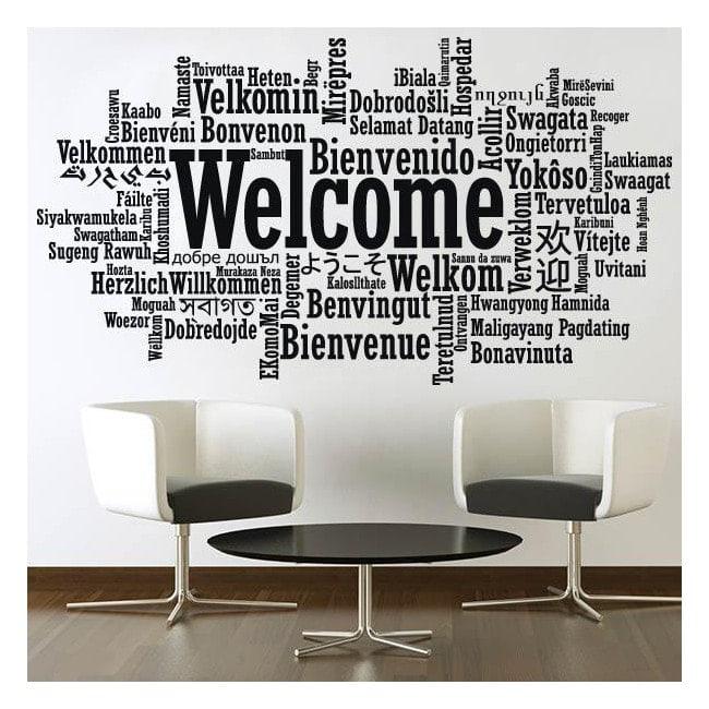 Autocollants en vinyle décoratif Bienvenue langues