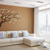 Branche d'arbre décoratif de vinyle avec feuilles