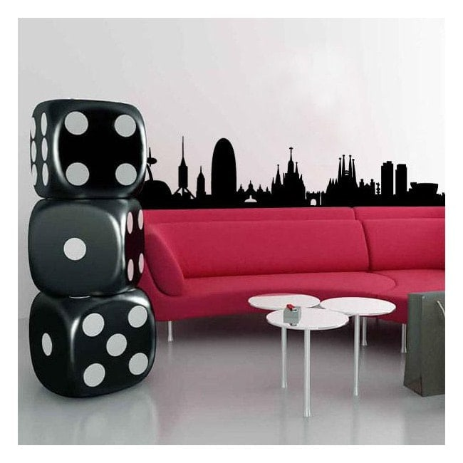 vinyle adh sif d coratif skyline barcelone. Black Bedroom Furniture Sets. Home Design Ideas