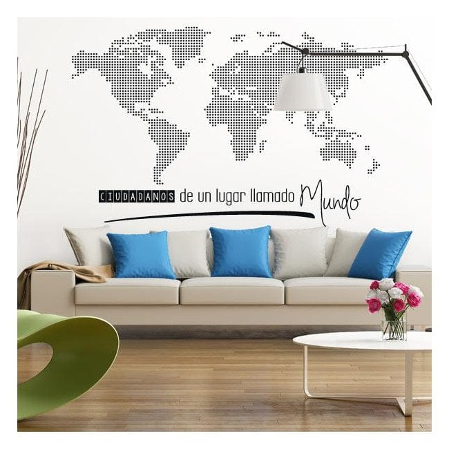 sticker carte du monde citoyens du monde. Black Bedroom Furniture Sets. Home Design Ideas
