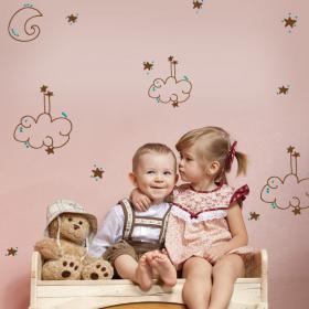 Nuages de vinyle pour enfants de la lune étoiles et des points de couleurs