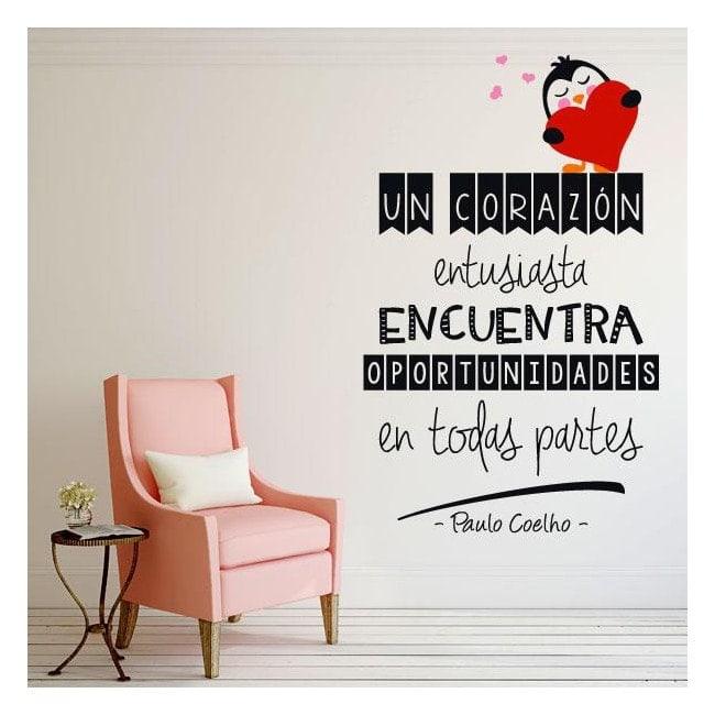Vinyle décoratif phrases Paulo Coelho un coeur