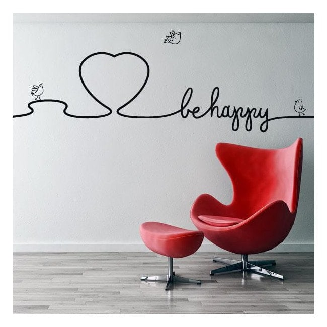 Décoratif vinyl textes décorent murs Be Happy