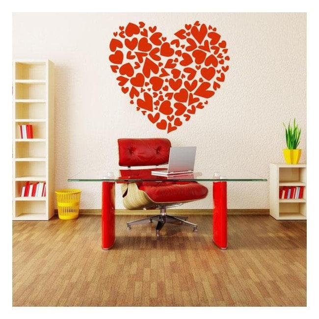 Stickers muraux coeur avec des coeurs