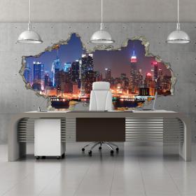Ville 3D de mur en vinyle