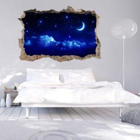 Vinyl mural 3D lune et étoiles