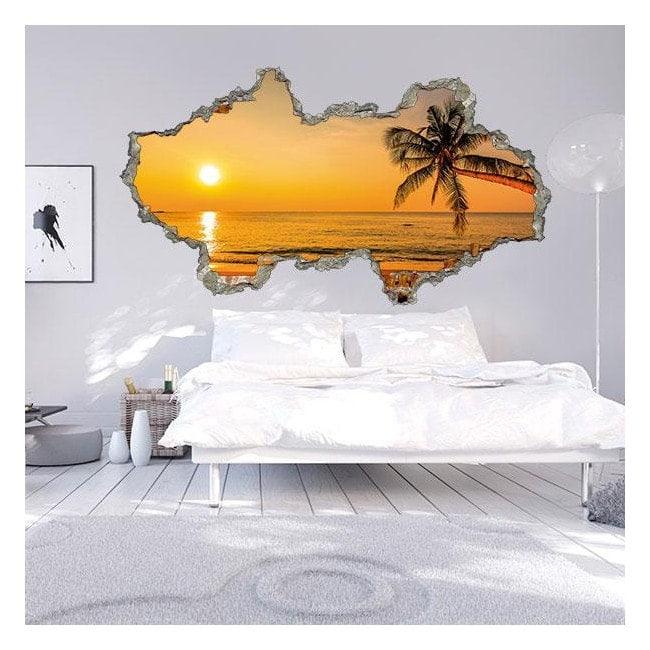 Vinyle murale 3D Sunset Beach