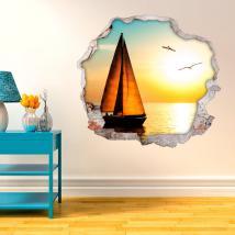 Coucher de soleil vinyle murs voile 3D