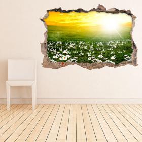 Vinyle murale 3D fleurs marguerites blanches