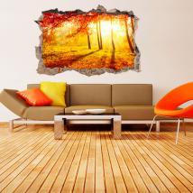 Automne arbres de vinyle 3D trou mur