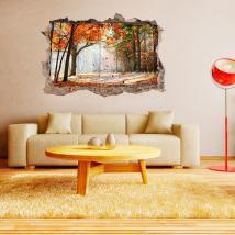 Arbres de mur trou vinyl 3D