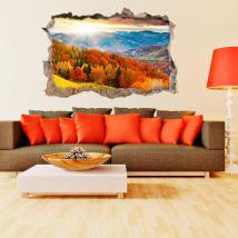 Vinyl 3D trou mur arbres dans les montagnes