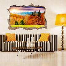Mur 3D vinyle cassé des arbres en automne