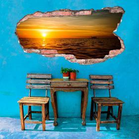 Vinyle trou mur 3D coucher de soleil sur la mer