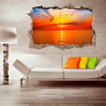 Coucher de soleil vinyle mural 3D French 4508