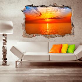 Coucher de soleil vinyle mural 3D