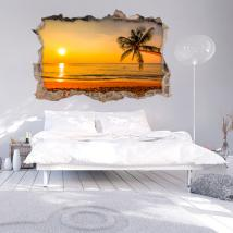 Mur 3D vinyle cassé coucher de soleil sur la mer