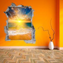 Coucher du soleil de vinyle de mur 3D sur la plage