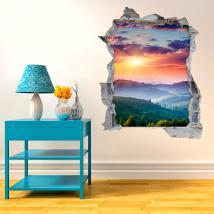 Vinyl 3D coucher de soleil dans les montagnes French 4515