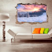 Montagnes enneigées de neige sunset 3D de vinyle