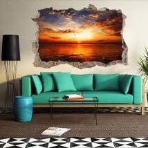 Coucher de soleil vinyle 3D trou mur