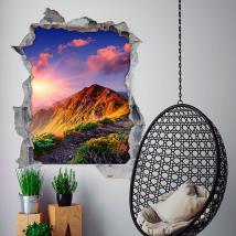 Coucher du soleil et les montagnes 3D de vinyle