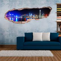 Ville 3D de vinyle de Hong Kong