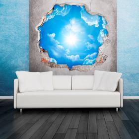 Vinyle sky 3D nuages et soleil