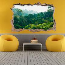 Arbres 3D de vinyle dans la forêt