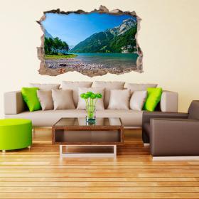 Vinyl 3D lac et montagnes