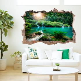 Montagnes et rivières 3D de vinyle