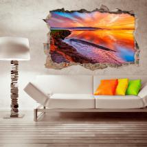 Coucher du soleil Laguna 3D de vinyle