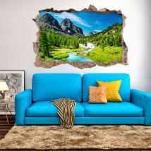 Vinyl 3D River dans les montagnes French 4583