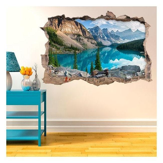 Vinyl 3D lac dans les montagnes French 4584