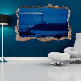 Vinyles 3D wall Lighthouse Beach