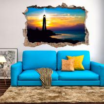 Coucher du soleil de vinyle au phare 3D