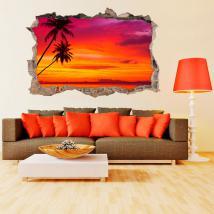 Palmiers 3D de vinyle sur la plage