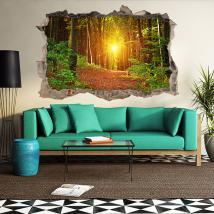 Coucher de soleil vinyle forêt 3D