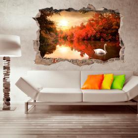 Vinyle murale 3D Swan