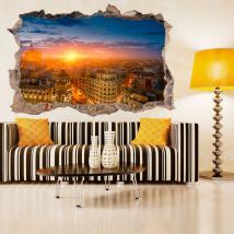 Coucher du soleil Madrid 3D de vinyle