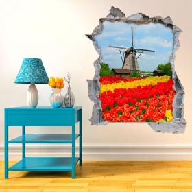 Moulin de 3D et vinyle de tulipes
