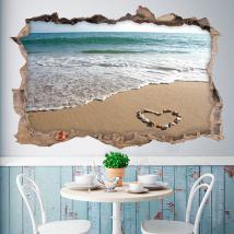 Cœur 3D de vinyle à la plage