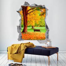 Vinyle banc et arbre 3D automne