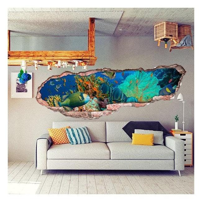 Coraux et poissons de mer 3D de vinyle