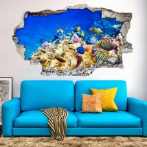 Vinyl 3D couleurs des poissons dans la mer