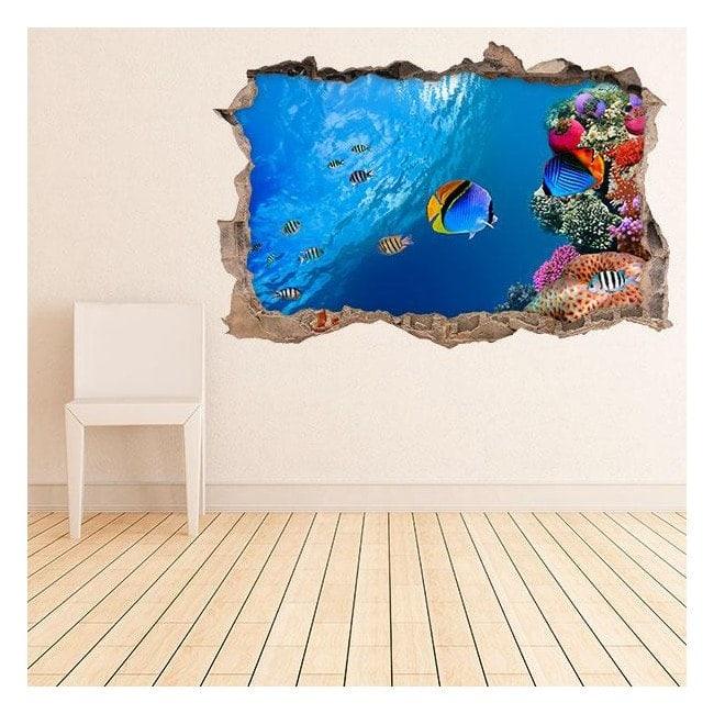 Vinyle les murs la vie marine 3D
